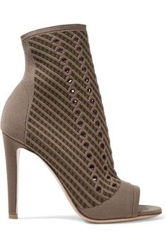 Gianvito Rossi - Perforated Stretch-knit Ankle Boots - Mushroom