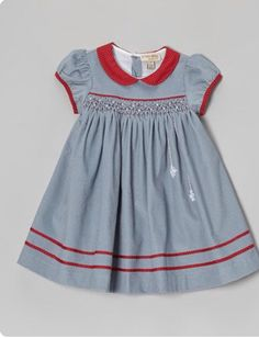 Take a look at this Gray & Red Snowflake Smocked Dress - Infant & Toddler on zulily today! by holly Smocked Baby Dresses, Little Dresses, Little Girl Dresses, Toddler Dress, Toddler Outfits, Kids Outfits, Infant Toddler, Fashion Kids, Fashion Fashion