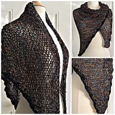 Hand Knit Rayon Boucle' Stained Glass Triangle Shawl by knitme1