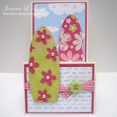 SUN SAND SURF  Joanna Wright - Sun San Surf background set and Surfboard shaped cards and Cloud background set