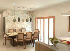 Cozinha e copa integradas: Salas de jantar translation missing: br.style.salas-de-jantar.moderno por Patrícia Alvarenga