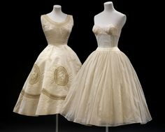 Evening dress & undergarment, Pierre Balmain (1950-1955). Silk grosgrain with embroidery, lined with linen, supported by boning and net.