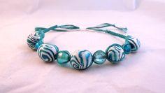 Hippy Boho Teal Zebra Micro Macrame Friendship Bracelet Tribal Green Aqua by HeartMesaGifts