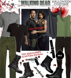 The Walking Dead Glen and Maggie Halloween costume.