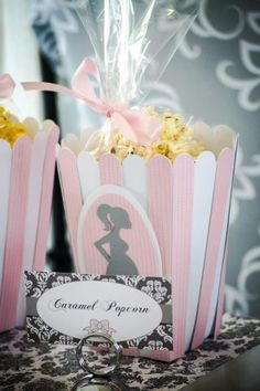Pink Silhouette Baby Shower - #Babyshower About to Pop popcorn Treat Boxes -  Bella Paris Designs