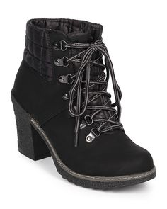 Nature Breeze DK51 Women Quilted Mix Media Lace Up Chunky Heel Bootie - Black * For more information, visit image link.