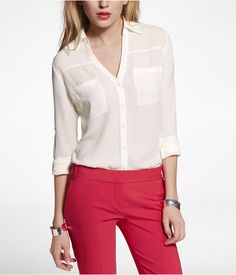 Womens The Convertible Sleeve Portofino Shirt Soft Ivory Large