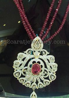 Jewellery Designs: White CZs Pendant Sets
