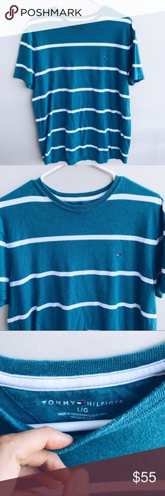 🌊 TOMMY HILFIGER BLUE/GREEN STRIPED SHIRT 🌊 TOMMY HILFIGER SHORT SLEEVE TEE, COLOR IS A BLUE/GREEN WITH WHITE HORIZONTAL STRIPES / CONDITION IS USED, STILL GOOD / SIZE : LARGE Tommy Hilfiger Shirts Tees - Short Sleeve