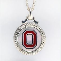 Sterling Silver OHIO STATE MOTHER OF PEARL PENDANT With CHAIN