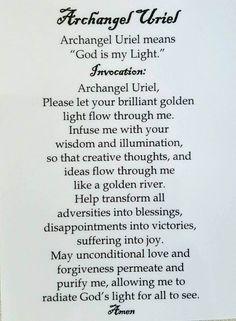 Archangel Uriel Prayer, Archangel Prayers, Archangel Gabriel, Angel Number Meanings, Angel Numbers, Spiritual Prayers, Catholic Prayers, Spiritual Awakening, All Archangels