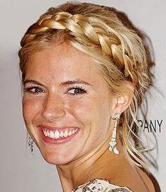 Heidi-style wedding hair