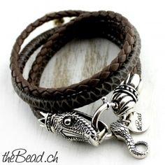 Damen Lederarmband SCHLANGE, massives 925 Silber - Snake bracelet 925 silver and leather