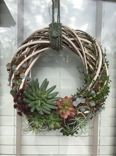 Willow wreath with succulents. Willow wreath with succulents. Succulent Wall Art, Succulent Wreath, Willow Wreath, Grapevine Wreath, Succulent Gardening, Planting Succulents, Fall Wreaths, Door Wreaths, Greenery Wreath