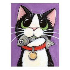 Shop Cute Cat Eating A Fish Postcard created by LisaMarieArt. Art And Illustration, Cat Illustrations, Art Fantaisiste, Image Chat, Cat Quilt, Cat Drawing, Whimsical Art, Crazy Cats, Rock Art