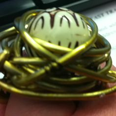 Funky-antique gold-hand wrapped-Alluminum wire ring