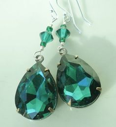 Christmas Earrings Emerald Green Swarovski by MagdaleneJewels, $40.00
