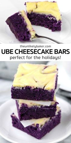 Ube cheesecake bars combine two of your favourite ube desserts — brownies and cheesecake! Creamy and tangy cream cheese swirls on top of chewy and fudgy ube brownies. So good. Plus, they're very easy to make and freeze well so you can make them when you have time and enjoy them any time you're craving for a delicious ube treat. Get the recipe with step-by-step photos and lots of baking tips. Mango Cheesecake, Cheesecake Squares, Easy Cheesecake Recipes, Dessert Recipes, Mango Graham Cake, Blueberry Crumb Bars, Pinoy Dessert, Cream Cheese Bars, American Desserts