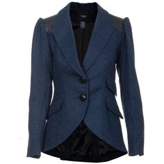 Smythe Blazer Equestrian Blue ($675) ❤ liked on Polyvore featuring outerwear, jackets, blazers, blazer, coats, coats & jackets, women, blue blazer, puff jacket and puffy jacket