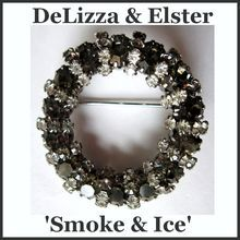 Vintage DeLizza & Elster Smoke and Ice Circle Pin