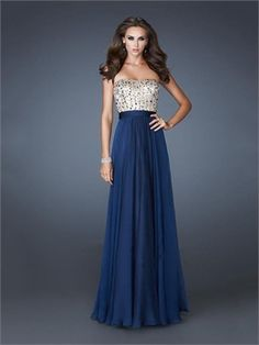 A-line Strapless Sequined Chiffon Prom Dress PD2419