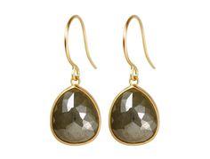 18K Gold Sage Green Opaque Diamond Earrings