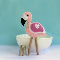 Pink Flamingo Bird - Wool Felt Magnet or Brooch