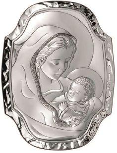 Srebrny obrazek Matka Boska z Dzieciątkiem -(BC#6364) [PasazHandlowy.eu]