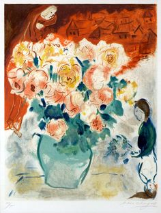 Chagall Hand Signed Color Lithograph | The Bouquet, 1955