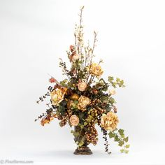 Cream Arrangement in Bronze Urn Vintage Flower Arrangements, Artificial Floral Arrangements, Silk Floral Arrangements, Floral Centerpieces, Artificial Flowers, Silk Flowers, Dried Flowers, Corona Floral, Church Flowers
