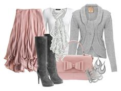 """""""Pink & Grey for a Cooler Day"""" by stylesbyjoey ❤ liked on Polyvore featuring Isabella Oliver, Calypso St. Barth, Be-Angeled, Dorothy Perkins, Pollini, Wet Seal, Apt. 9, ruffle skirts, ruffle scarves and bow bags"""
