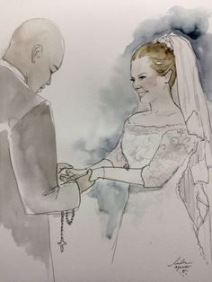 Estilista faz ilustrações para eternizar o vestido de noiva.