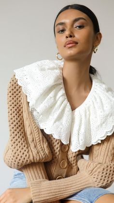 Sea Melanie Cable Cropped Cardigan Spring Fashion Outfits, Spring Summer Fashion, Summer Outfits, Street Style Summer, Cropped Cardigan, China Fashion, Cable Knit, Knitwear, Ruffle Blouse
