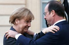 Frau Angela Merkel, Bundeskanzlerin, Monsineur François Hollande, Président de la République Française.  Lovely, isn't it?