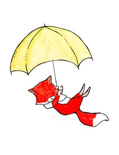 Raindrops Nursery Art Print by ohhellodear on Etsy Nursery Drawings, Nursery Art, Fox Illustration, Watercolor Illustration, Watercolor Images, Watercolor Paintings, Umbrella Art, Yellow Umbrella, Image Deco