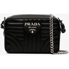 174a1790ccc Prada Black Diagramme Leather Cross Body Bag ( 1,090) ❤ liked on Polyvore  featuring bags