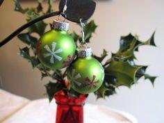 Christmas Earrings Green Christmas Bulb Earrings by SmithNJewels