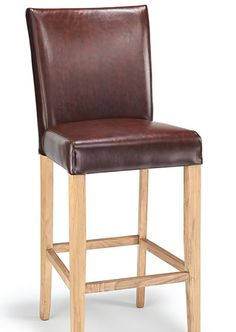 Deule Kitchen Bar Wooden Stool Brown Real Leather Seat, Oak Frame
