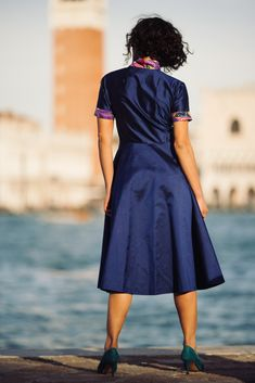 Blu silk shantung dress   #silk #shantung #dress #sheathdress #fashion