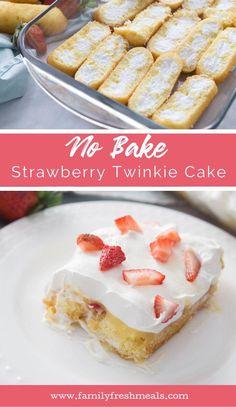 No Bake Strawberry Twinkie Cake - Family Fresh Meals Twinkie Cake Recipes, Twinkie Desserts, Strawberry Desserts, No Bake Desserts, Easy Desserts, Delicious Desserts, Twinkie Strawberry Shortcake, Dessert Recipes, Trifle Desserts