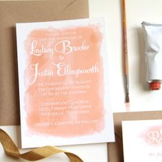 Watercolor Wedding Invitation by Sisters of Nature on Etsy #wedding #invitation #peach #watercolor #Etsy #chic #gold