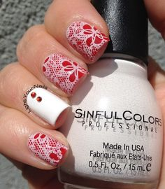 White and red stamping with plate BP-L020 from @bornprettystore #nailart #nailstamping #HPBMayFlowers