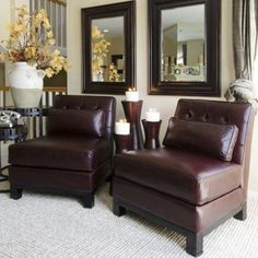 Have to have it. Elements Lars 2-Piece Set Top Grain Leather Standard Chairs in Sable - $1719.99 @hayneedle.com