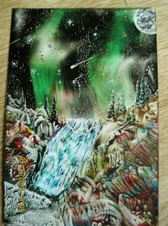 Encaustic Art,using beeswax and iron and stylus,size A6,IMG 1364,Titled-NORTHERN LIGHTS.Done 2014.By Peter Chattaway.uk.