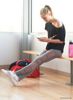 """You're going to work hard—who says you can't still look good doing it? Featured product includes: Nike dry training """"just do it"""" tights, vivid pink 32-oz. water bottle, swoosh drop-shoulder graphic tee, Court Royale sneakers, 22-in. gym club duffel bag and Rally funnel neck hoodie. Get healthy in 2017 with Kohl's."""