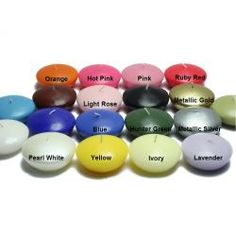 @Overstock.com - Hand-Poured Floating Candles (Pack of 12) - Large round floaters are a must for events such as housewarmings and weddings. These unscented floating candle discs burn exceptionally long and have solid color all the way through for non metallics.  http://www.overstock.com/Home-Garden/Hand-Poured-Floating-Candles-Pack-of-12/6445140/product.html?CID=214117 $19.99