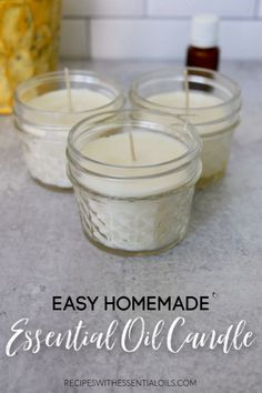 Easy Homemade Essential Oil Candle - Recipes with Essential Oils Essential Oil Candles, Essential Oils, Homemade Scented Candles, Easy Homemade Gifts, Outdoor Candles, Home Candles, Diy Candles, Beauty Products, Aromatherapy