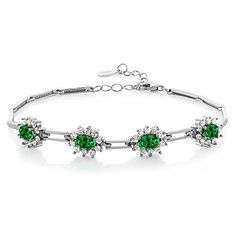 472 Ct Green Simulated Emerald 925 Sterling Silver Bracelet 7 with 1 Extender >>> Click image for more details.