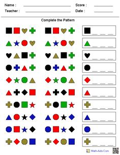 Complete Shape Patterns Worksheets