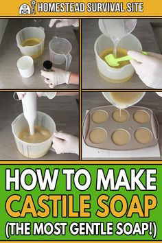 Castile soap is a soap made with olive oil, water, and lye. For centuries, peopl. Castile soap is Soap Making Recipes, Homemade Soap Recipes, Castile Soap Recipes, Castile Soap Uses, Homemade Beauty Products, Diy Cleaning Products, Bath Products, Natural Products, Pelo Natural
